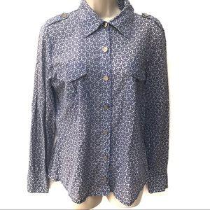 Tory Burch Lavender Button Up Blouse Top Shirt